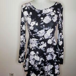 Forever 21 Black and White Roses Skater Dress